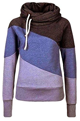 Cutiefox Women's Casual Funnel Neck Patchwork Fleece Hoodie Sweatshirt(Purple,XXL)