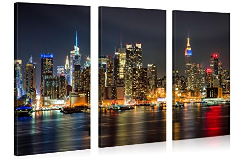 Large Canvas Print Wall Art - MANHATTAN NIGHT LIGHTS - 48x30 Inch - 3 panel New York Cityscape Canvas Picture Stretched On A Wooden Frame - Giclee Canvas Printing - Hanging Wall Deco Picture / e4350