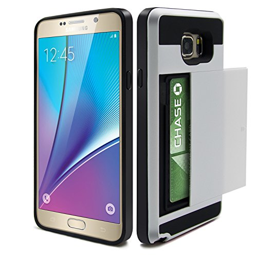 Galaxy Note 5 Case, Eversame Wallet Cover Carrying Case Impact Resistant Protective Shell Hard PC Case + Soft TPU Bumper Cover with Card Holder Slot For Samsung Galaxy Note 5 (White)