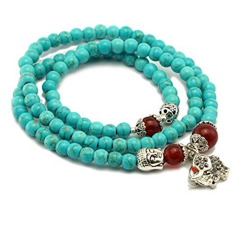 Cat Eye Jewels 6mm Turquoise Bracelet Necklace Yoga Prayer Buddha Energy Bracelet with Lucky Elephant Charms N17