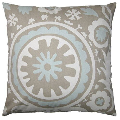 JinStyles Cotton Canvas Floral Accent Decorative Throw Pillow Cover (Blue & Gray, Square, 1 Cover for 16 x 16 Inserts)