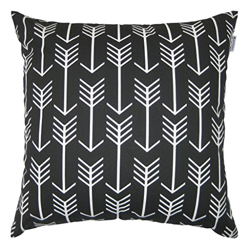 JinStyles Cotton Canvas Arrow Accent Decorative Throw Pillow Cover (Black, White, Square, 1 Cushion Sham for 22 x 22 Inserts)