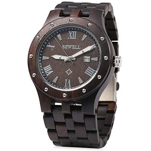Bewell Men Wooden Quartz Watch Round Dial Analog Wristwatch-EBONY