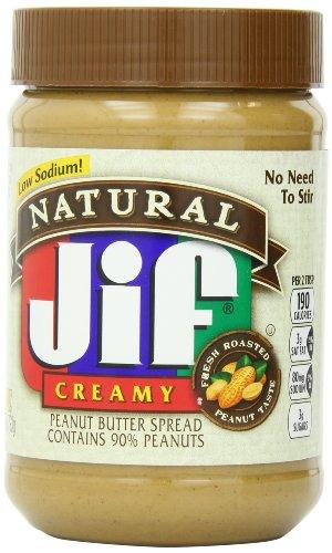 Jif Natural Creamy Peanut Butter Spread, 28 oz., 10 Count