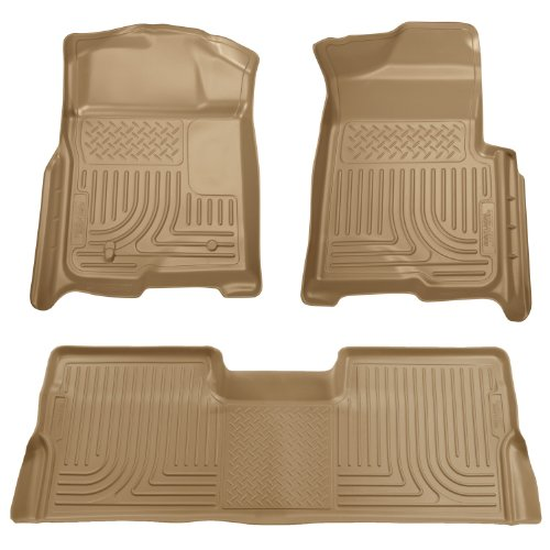 Husky Liners Custom Fit Front and Second Seat Floor Liner Set for Select Ford F-150 Models (Tan)