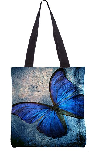 Snoogg Blue Butterfly Grunge Tote Bag 13.5 x 15 inches shopping utility tote bag made from Polyester Canvas