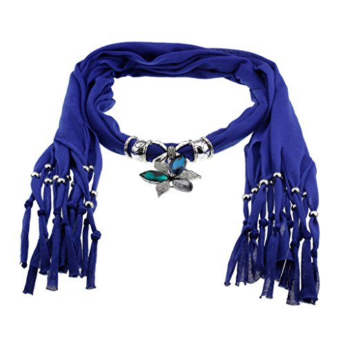 Sapphire Cotton Scarf Shawl in Silver Bow with Vintage Charm Vintage Tri Color Zirconia Studded Crystals Flower Shape Pendant
