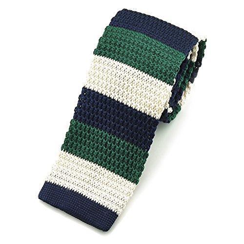 PenSee Casual Mens Navy & Dark Green & Beige Slim 2.16 Skinny Knit Tie