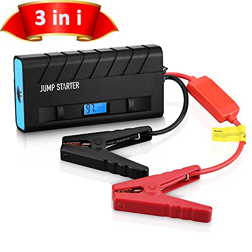[Preferential Version] Rechargeable Car Jump Starter Charger, Pictek 3-in-1 (Portable Mobile Power Bank, 500A Output, LED Flashlight) 13600mAh External Battery Charger with Smart Clamps for Vehicles