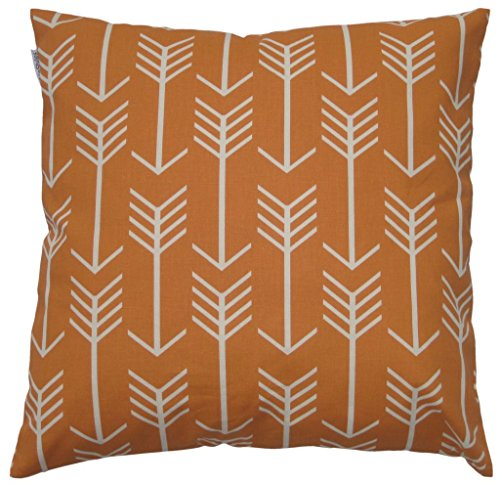 JinStyles Cotton Canvas Arrow Accent Decorative Throw Pillow Cover (Orange, White, Square, 1 Cushion Sham for 18 x 18 Inserts)