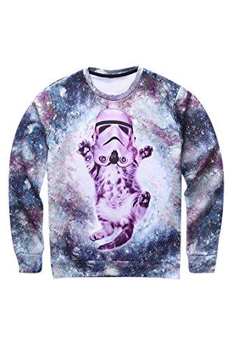 Cutiefox Womens Cute Galaxy Cat Printed Pullover Hoodie Sweatshirt Purple S
