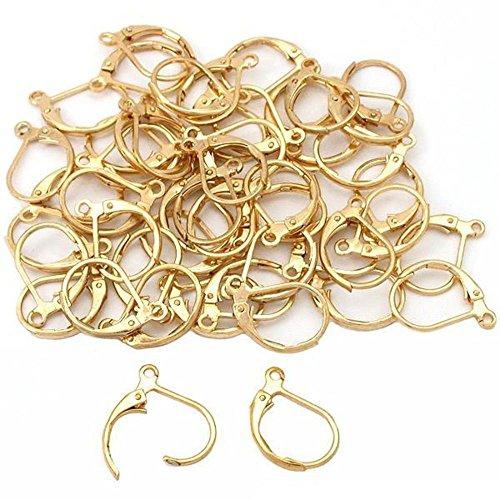 50 Gold Plated Leverback Earrings Earring Findings 13mm