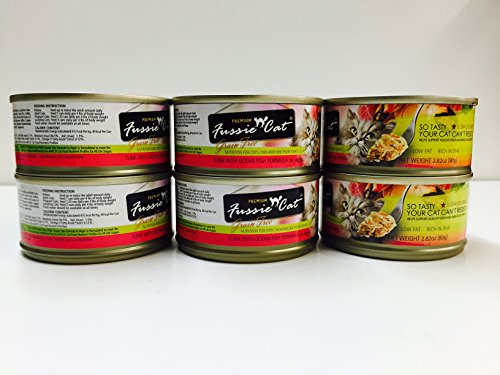 Premium Fussie Cat Canned Food, Tuna with Ocean Fish Formula, 2.82oz x 6cans
