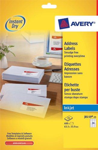 Avery J8159-25 A4 Sheet Address Labels for Inkjet Printers - White, 24 Labels per Sheet