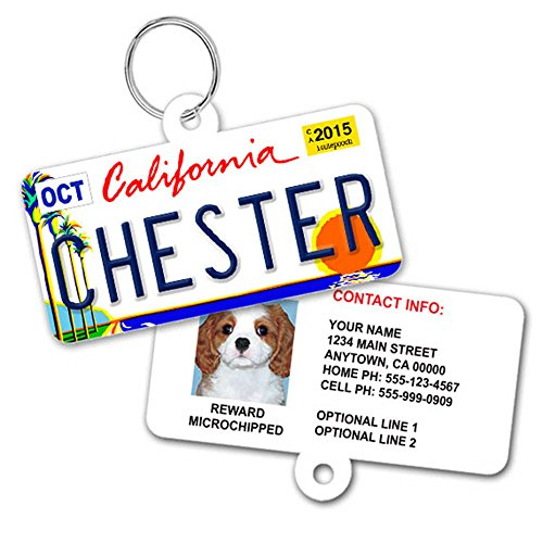 License Plate Custom Pet ID Tag - Personalized Pet ID Tags - Available For All 50 States - Dog Name Tags - Cat Pet Tags - With Pet Photo