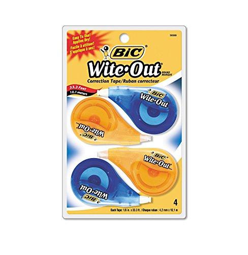 Wite-Out EZ Correct Correction Tape, Non-Refillable, 1/6 quot; x 400 quot;, 4/Pack