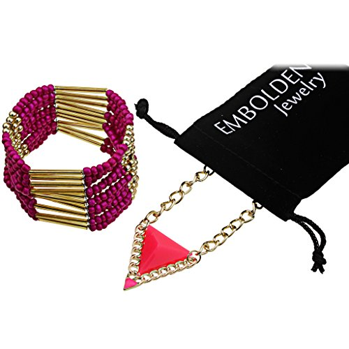 Retro Charm Gold Triangle Pendant Necklace and Bohemian Layered Sumi Beads Bracelet for Women