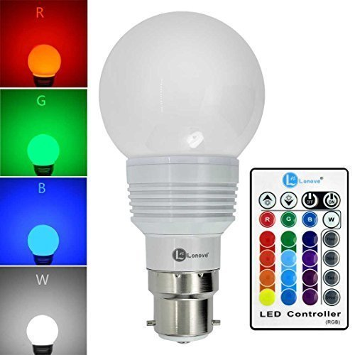 LONOVE® Colours Changing RGB LED 3W B22 Bulb Light White Case Multi-color IR Wireless Remote Control