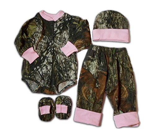 Mossy Oak Baby Gift Set Pink & Camo LS Outfit, Pants, Hat, Booties 4PC (3-6)