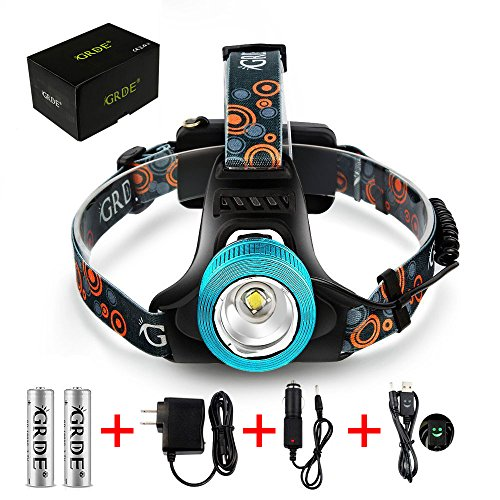 Zoomable Headlight Headlamp , LED Beam Head Lamp Light Torch , Spotlight Floodlight , Rechargeable Waterproof Flashlight , for Night Fishing Hunting Camping Hiking Cycling Riding Running , Blue