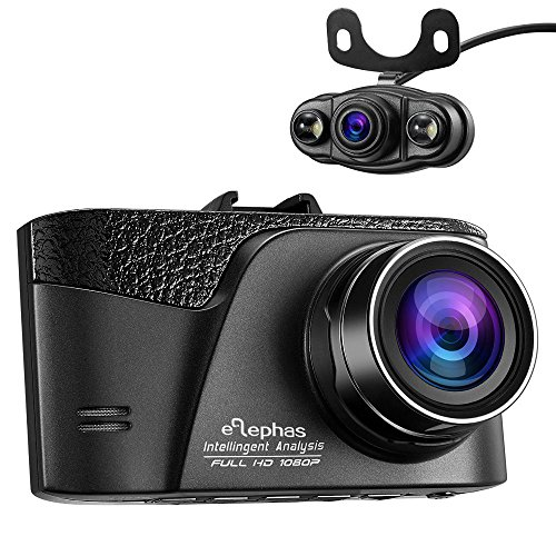 ELEPHAS Novatek 96655 1080p HD Car dual camera Dash Cam front and rear with Night vision, 170 Degree Wide Angle and Loop recording, Support Max 32G microSDHC Card