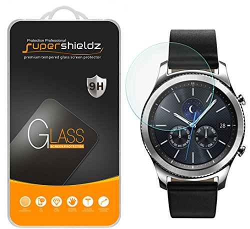 [2-Pack] Samsung Gear S3 Classic Tempered Glass Screen Protector, Supershieldz Anti-Scratch, Anti-Fingerprint, Bubble Free, Lifetime Replacement Warranty