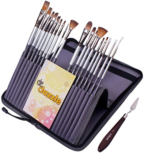 De Dazzle 18 Premium Paint Brushes with Palette Knife and Pop-up Stand Carry Case. 11.5 Inches Long Handle Paint Brush Set for Watercolor, Acrylic, Oil, Gouache & Face Painting