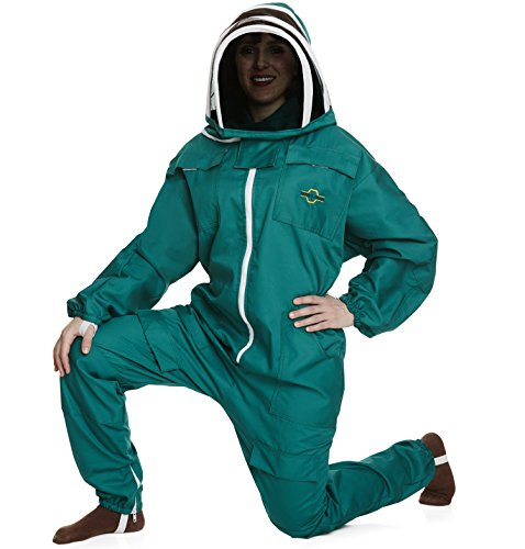 NATURAL APIARY® BEEKEEPING SUIT - GREEN - EXTRA LARGE - Complete, Full (All-in-One) - Fencing Veil - Easy to Wear & Remove - Bee Proof Seals - Professional & Beginner Beekeepers