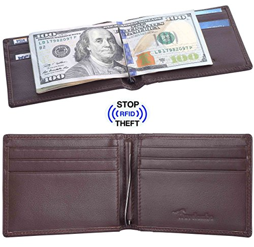 Travelambo Front Pocket Wallet Minimalist Wallets Leather Slim Wallet Money Clip RFID Blocking (black) (spring clip brown)
