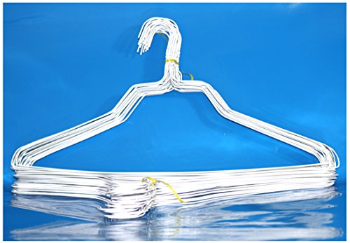 BriaUSA 50 Standard Hangers 18 14.5 Gauge White Wire Hangers Clothes Hangers