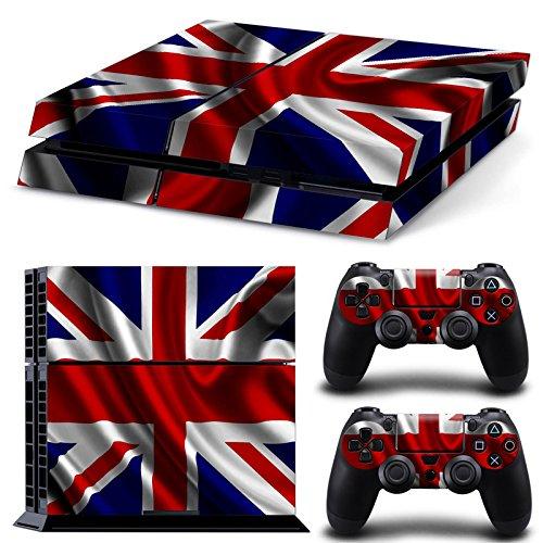 NoveltyThunder® - England Flag Union Jack Skin Sticker Cover For PS4 Playstation 4 Console Decal Set Vinyl + 2 Controller Skins