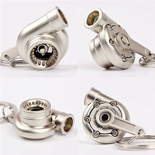 HAMIST Spinning Turbo Keychain Keyring Turbocharger Turbine Key Chain Drift Racing Matt Sliver