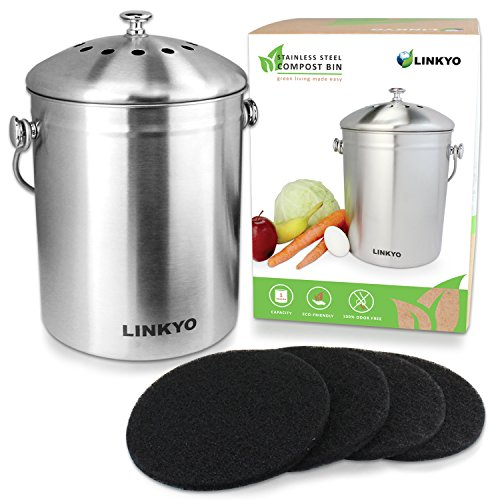 LINKYO Kitchen Compost Bin - 1 Gallon Stainless Steel Composter with 4 Odor-Neutralizing Filters