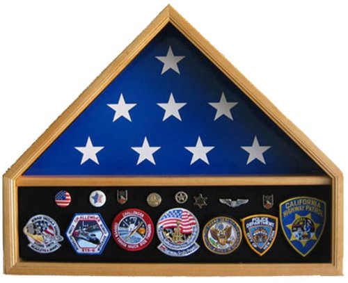 5' X 9.5' or 6' X 10' Flag Display Case Military Shadow Box, Solid wood, Oak Finish (FC10-OA)