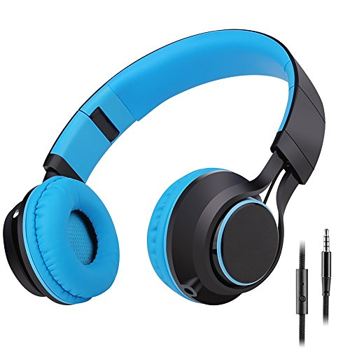 Sound Intone HD30 Kids Headphones with Microphone Foldable Portable Boys Girls Childrens Headsets and Detachable 3.5mm Audio Cable for Iphone Ipad Android Smartphone Laptop Tablet PC Mp3/Mp4(Blue)