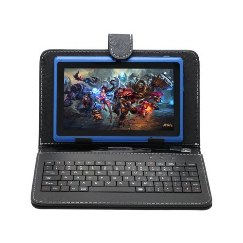 IRULU 7 inch Android Tablet PC With Keyboard Case,4.2 Jelly Bean OS, Dual Core, Allwinner A23 CPU, Dual Cameras, 5 Point Capacitive Touch Screen, 16GB Storage,Blue Tablet & Black Keyboard Case
