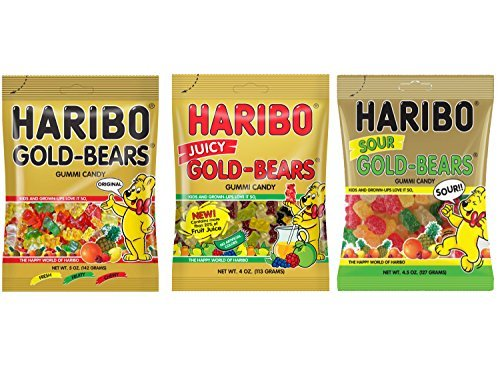 Haribo Gold-Bear Gummi Candy Variety Pack - Original, Juicy, Sour (3 Pack)