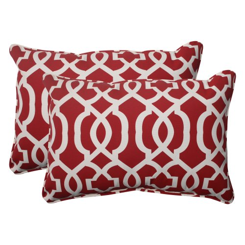 Pillow Perfect Indoor/Outdoor New Geo Corded Oversized Rectangular Throw Pillow, Red, Set of 2