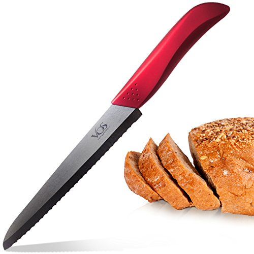 Vos Ceramic Bread Knife - Serrated Blade Includes Protective Sheath, Gift Box and Free Cookbook