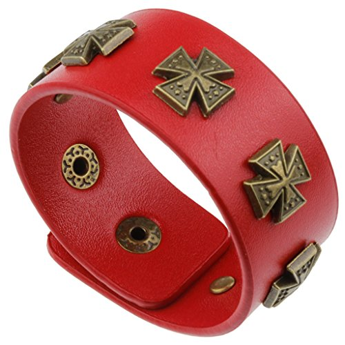 Punk Rock Red Leather Wrist Wrap with Bronze Metal Studs Bracelet - Fashion Accessories for Women Girls