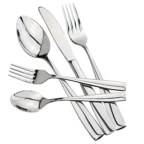 HOMMP Stainless Steel Flatware Sets, 80-piece, Service for 16