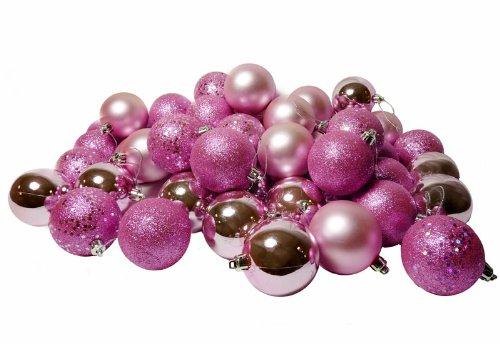 60ct Bubblegum Pink Shatterproof 4-Finish Christmas Ball Ornaments 2.5 (60mm)