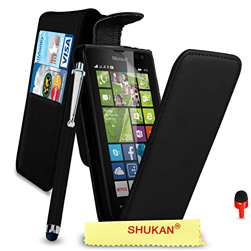 Microsoft Lumia 435 Premium Leather Black Top Flip Wallet Case Cover Pouch + Big Touch Stylus Pen + RED 2 IN 1 Dust Stopper + Screen Protector & Polishing Cloth SVL2 BY SHUKAN®, (FLIP BLACK)