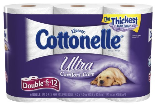 Cottonelle Ultra Double Roll, (2X Regular),2 Ply, White-6pk