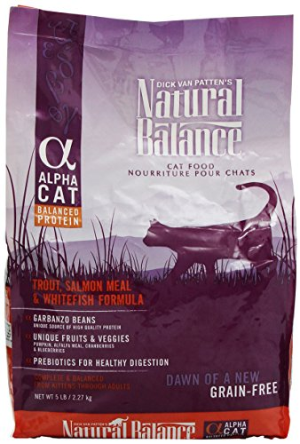 Natural Balance Alpha Grain-Free Trout, Salmon Meal, and Whitefish Formula for Cats, 5-Pound Bag