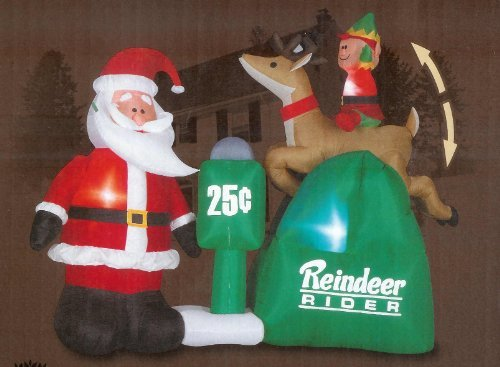 Santa Claus Reindeer Rider with Elf Christmas 6 1/2 Ft Animated Airblown Inflatable