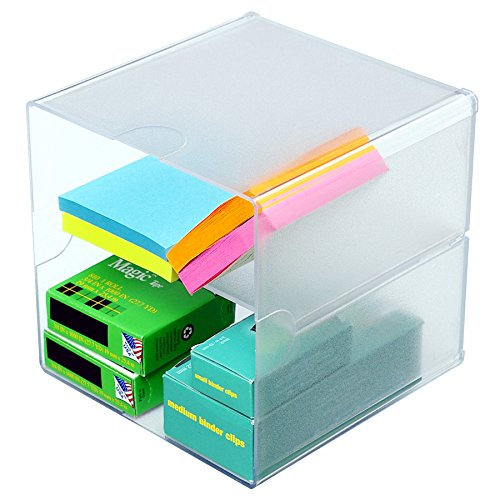 Source One Deluxe Desk Organizer Frosted Acrylic 6x6x6 Inch with Shelf - Cube