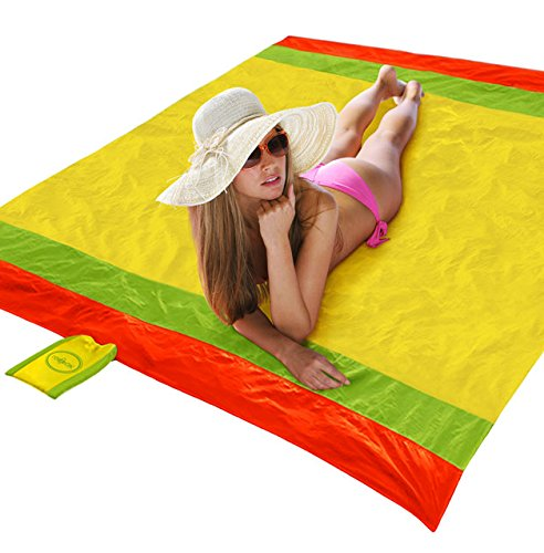 Raqpak Beach/Picnic Blanket, Lightweight and Sand Proof with 4 Stakes, 7 x 7 Feet