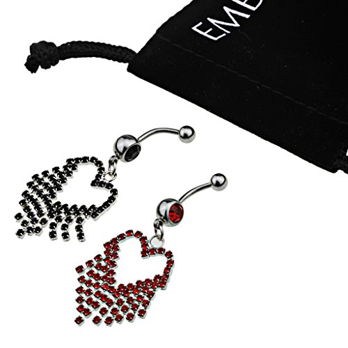 Elegant Cubic Zirconia Red and Black Crystals in Heart Tassle Steel Navel Pierce Set for Women, Teens, Girls - Surgical Steel