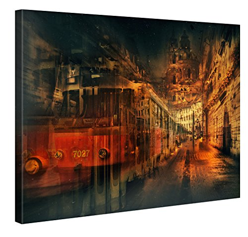 VINTAGE TRAM - Premium Canvas Art Print Available in Multiple Sizes - Large Wall Art Deco - Canvas Picture Stretched on Wooden Frame as Modern Gallery Artwork / e10952